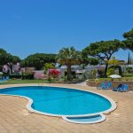 Beautiful large pool and childrens pool area with surrounding trees.